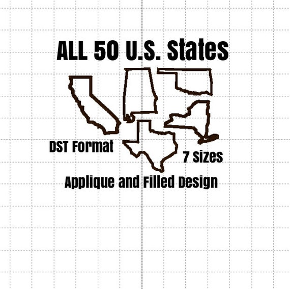 50 United States Applique AND Filled Designs DST FORMAT only included 7 Sizes in each design
