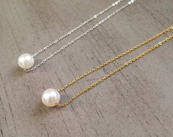 pearl necklace/pearl charm necklace/dainty pearl necklace/bridal party/bridesmaid/birthday/everyday wear/simple/elegant