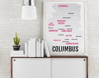 Columbus Ohio Print - Neighborhood City Map - Poster, Boyfriend Gift, Husband Gift, Wall Art, Illustration - White/Grey/Red