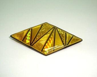 "Metallic Art Graphics brooch hallmarked John Crutchfield 1989. Gold tones, geometric design. 3"" by 1.5"". In very good condition."