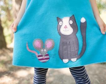 girls racerback tank dress, swing dress, cat dress, mouse dress, tank dress, applique, upcycled dress, organic cotton dress, size 5, size 6