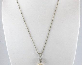 Labra-kadabra Quartz with Labradorite Pendant Necklace, Gold