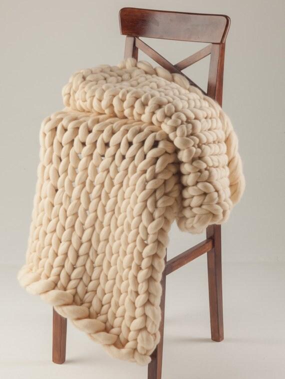 Knitting Diy Kits : Knitting diy kit chunky blanket microns merino wool