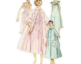 Vintage Sewing Pattern 1950s 1956 Women's Negligee Nightgown Duster Housecoat Brunch Coat Simplicity 1850 Size 11 Bust 31.5
