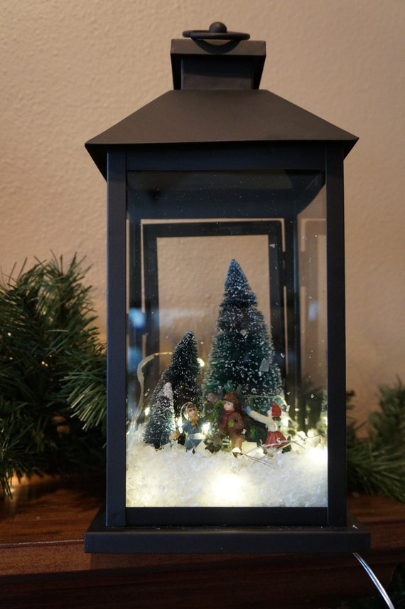 items similar to christmas lantern or holiday lantern lantern with lights christmas or holiday. Black Bedroom Furniture Sets. Home Design Ideas