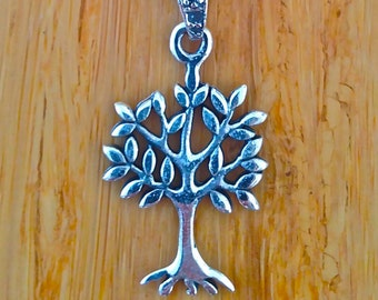 Small Sterling Silver Leafy Tree of Life Pendant.