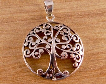 Encircled Artistic Sterling Silver Tree of Life Pendant.