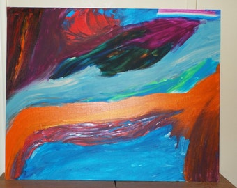 Original Acrylic Abstract Painting on Canvas Board Titled 'Colorful River'