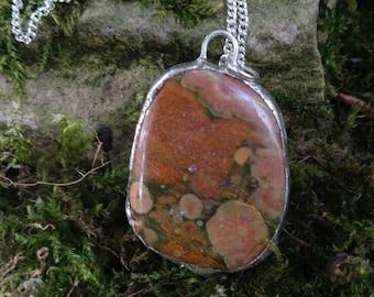 Reversible ocean jasper pendant lined in silver