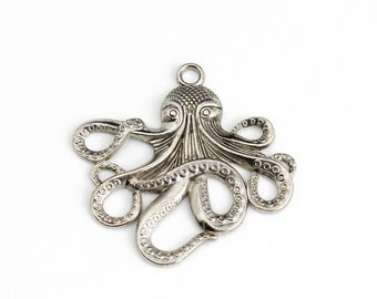 Antique Silver Large Octopus Pendant - 1 Piece