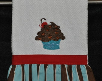 "Embroidered Dish Towel ""Fudge Frosted"" Cupcake"