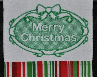 "Embroidered Dish Towel ""Merry Christmas"""