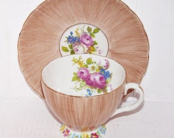 Foley Vintage Hand Painted and Signed Bone China Teacup and Saucer - 764