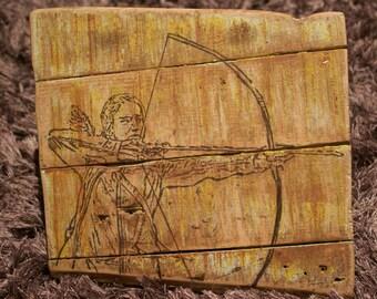 Rustic 'Hunger Games' Sign - Reclaimed Pallet Wood Art - Katniss Everdeen - Mockingjay - Catching Fire - Bow and Arrow