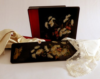 Boudoir lacquer boxes for hankies and gloves. 1890s