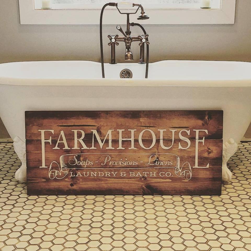 Farmhouse Laundry & Bath Co. Wooden Sign