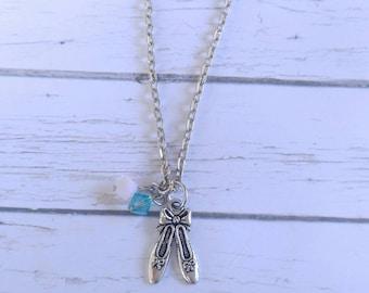 Ballet Necklace// Custom Sports Necklace// Ballet Gift// Girls Sports Necklace// Choose Sports Charm & Crystal Colors