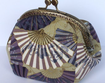Kiss lock purse Golden Fans, oriental cosmetic pouch, framed cosmetic case, gold blue clasp purse, kiss lock makeup bag, mom gift, clasp bag