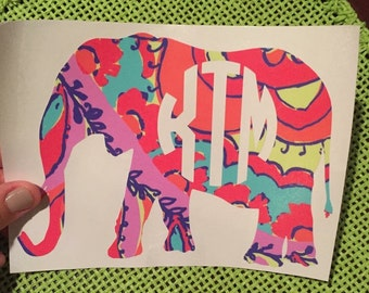 Elephant Lilly Monogram Decal