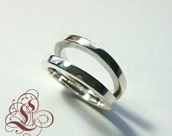 Sterling silver double band