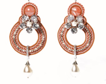 Pink Swarovski Crystal Earrings Soutache
