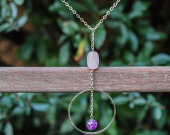 Silver necklace Rose Quartz