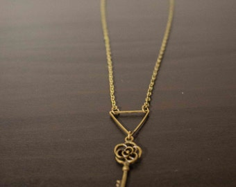 Triangle and antique bronze key charm necklace