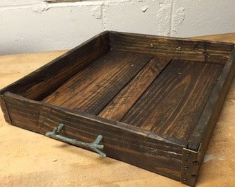 Dark pallet wood tray