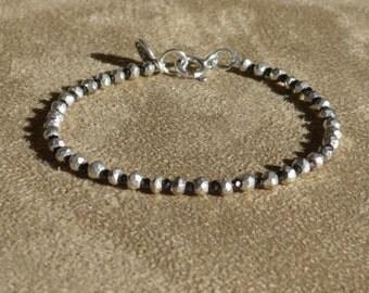 Pyrite Bracelet, Pyrite Anklet, Black Bracelet, Silver Bracelet, Dainty Bracelet, Stacking Bracelet, Dainty Anklet