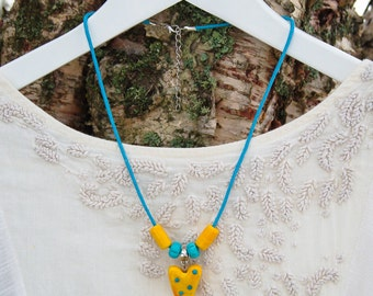 Yellow-turquoise lampwork necklace
