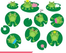 Frog Clipart / Lazy Frogs / Lilypads / Water Lilies / Cute Frog Prince