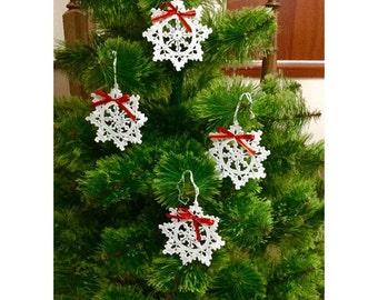 Christmas Wreath Bow Crochet heart doily White Bows Xmas Tree
