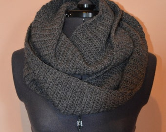 Dark Grey Crocheted Infinity Scarf