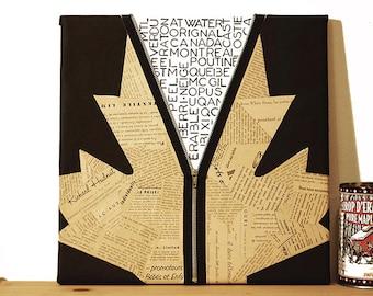 Table | The sheet is revealed. Illustration maple leaf | Original and artisanal decoration