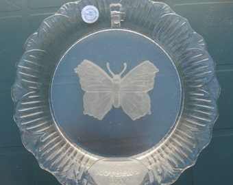Mother's Day Crystal Plate, Goebel First Edition 1979, Butterfly Glass Plate