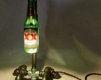 Beer Bottle Lamp - Industrial Lighting - Steampunk Furniture - Man Cave - bar decor - Bottle Lighting