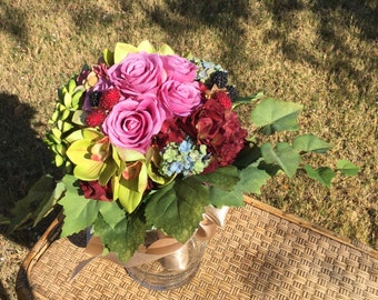 Wedding Bouquet with hydrangea, orchids, roses and succulents