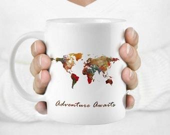 Unique Coffee Mug-World Map mug-Travel mug-Quote mug-Travel gift-Gift mug-Art Mug-Watercolor mug-Coffee Cup-Tea mug-HuppyMugs