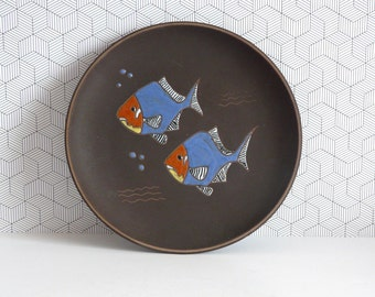 Mid Century Rusha fish wall plate | West German pottery