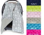 Carseat Canopy | Nursing Cover | Car Seat Canopy w/ Peekaboo Opening™- Arrow w/ Grey Dot Minky for Baby Boy or Girl | Breastfeeding Cover