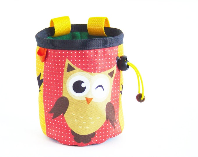 Gift for Climbers. Chalk bag. Rock Climbing Gifts with Animal Owl, M Size