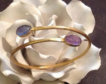 Sterling Silver, bangle bracelet with semi precious stones for women