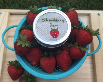 Strawberry Jam Mason Jar, Mason Jar Decor, Strawberry Decor, Jelly Jar, Cross Stitch Art, Mason Jar Lid