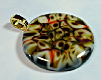 Chocolate Swirl Fused Glass Pendant, Artisan Handcrafted Glass Focal