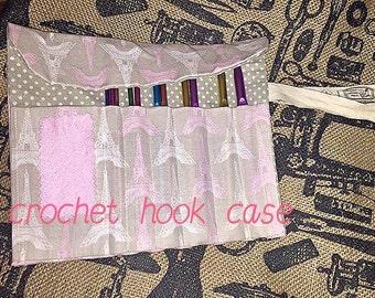 Crochet hook case tool roll handmade storage holder wallet wrap Paris Fabric organiser set kit