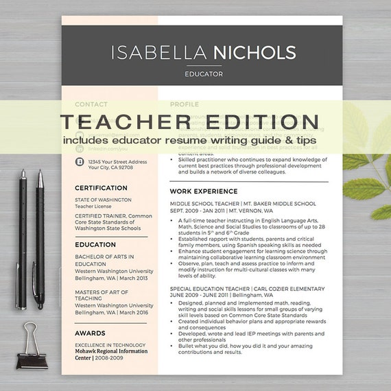 teacher resume template for ms word 1 2 page resume cov letter