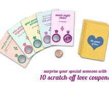 Love Coupons, Scratch off Coupons, Scratch Off Cards, Coupons for Boyfriend, Coupon Book, Love Gifts, Anniversary Gifts for Boyfriend