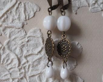 Earrings white melons