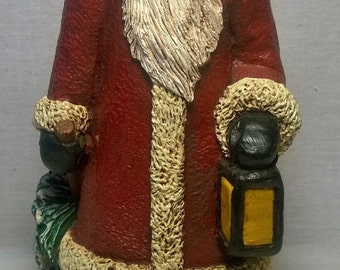 Handpainted Santa with Christmas Tree and Lantern