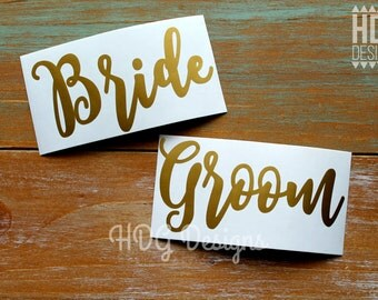 Bride & Groom Decal - Wedding decal - Wedding Glass Decal - Bride Decal - Groom Decal - Wedding Sticker - Wedding gift - Wedding Cup decal